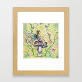 A Happy Place Flower Fairy Fantasy Art by Molly Harrison Framed Art Print