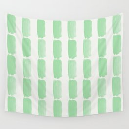 Pastel Mint Green Grid Brushstrokes on Linen White Pairs to Coloro 2020 Color of the Year Neo Mint Wall Tapestry