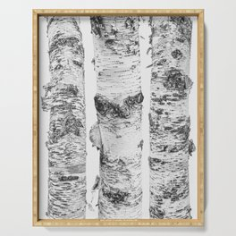 Birch Trees Landscape Photography | Black and White | black-and-white | bw Serving Tray