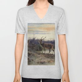 Deers In The Forest At Fontainebleau - Digital Remastered Edition Unisex V-Neck