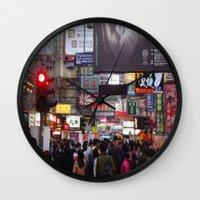 hong kong Wall Clocks featuring Hong Kong  by ENGINEMAN - JOSEPHAMT