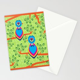Tropical birds on trees Stationery Cards