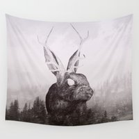 jackalope Wall Tapestries featuring the escape by Peg Essert