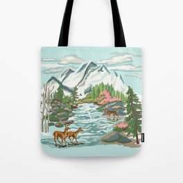 Paint by Number Mountain Medow Tote Bag