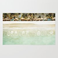 forever young Area & Throw Rugs featuring Forever Young by Jenndalyn