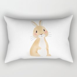 Cute rabbit illustration on white background Rectangular Pillow
