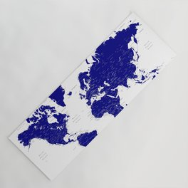 """Navy blue detailed world map with cities, """"Nevin"""" Yoga Mat"""