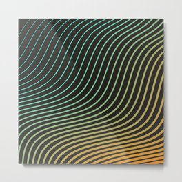 Saturated Wave Lines Metal Print