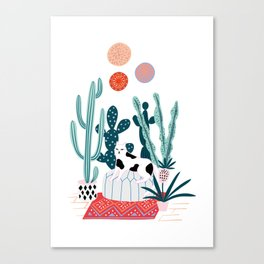 Cat and cacti Canvas Print