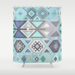 Aztec Artisan Tribal in Mint Shower Curtain