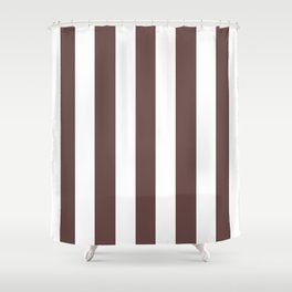 Rose ebony purple - solid color - white vertical lines pattern Shower Curtain
