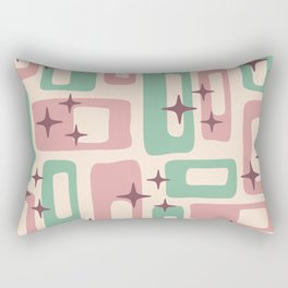 Retro Mid Century Modern Abstract Pattern 222 Dusty Rose and Pastel Green Rectangular Pillow