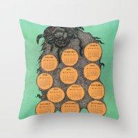 calendar 2015 Throw Pillows featuring Sheep Calendar 2015 by Julia Kisselmann