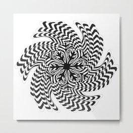 Black and White Spiral Abtsract Metal Print