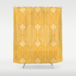 Lily Lake - Retro Floral Pattern Curry Shower Curtain