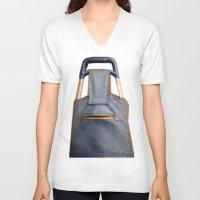 tiki V-neck T-shirts featuring Tiki Luggage by Del Gaizo