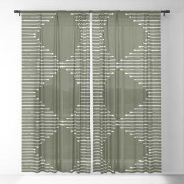Geo (Olive Green) Sheer Curtain