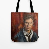 true detective Tote Bags featuring True Detective by LucioL