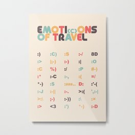 Emoticons of Travel - Retro Rainbow Metal Print