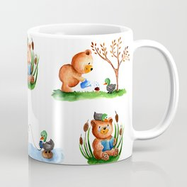Cute watercolor pattern for kids about Teddy Bear and little Duck's friendship Coffee Mug