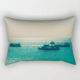 Endless Horizon. Boats Sailing into the Sea. Vintage Photography. Rectangular Pillow