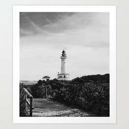Lighthouse - black and white Art Print