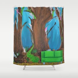 Fairy, Fairies. Abstract. Original Painting. Forest. Fantasy Forest. Fantasy. Jodilynpaintings. Shower Curtain