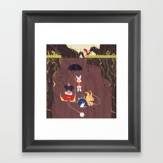 Falling down the rabbit hole Framed Art Print