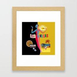 Loving Las Vegas | vintage black & gold Framed Art Print