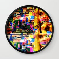 lindsay lohan Wall Clocks featuring Lindsay-Alice-Court-Glitch by Peter Marsh