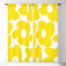 Large Yellow Retro Flowers on White Background #decor #society6 #buyart Blackout Curtain