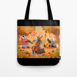 Musician animals in the wood Tote Bag