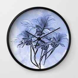 Painterly Blue Floral Wall Clock