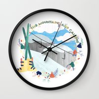 the mountains are calling Wall Clocks featuring Mountains Are Calling - Ski by Megs Higgins