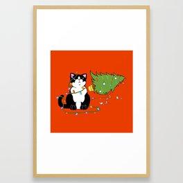 Tuxedo Cat Knocks Over Christmas Tree Framed Art Print