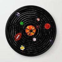 sports Wall Clocks featuring Solar Sports by Naomi Batts