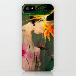 Woman between flowers / La mujer entre las flores iPhone Case
