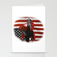 asap rocky Stationery Cards featuring ASAP Rocky American Flag by JuanTon
