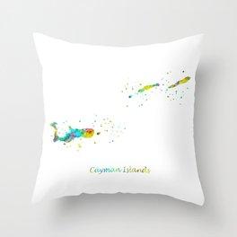 Cayman Islands Map Throw Pillow