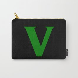 v (GREEN & BLACK LETTERS) Carry-All Pouch
