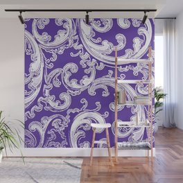 Purple Retro Chic Swirl Wall Mural
