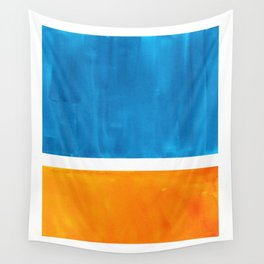 Colorful Jewel Tones Blue Gold Color Block Minimalist Watercolor Art Modern Simple Shapes Wall Tapestry