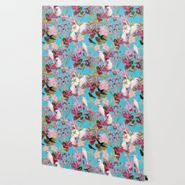Vintage & Shabby Chic - Pink Tropical Birds and Orchid Flower Pattern Wallpaper