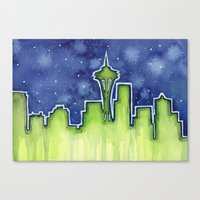 seattle Canvas Prints featuring Seattle  by Olechka
