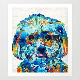 Colorful Dog Art - Lhasa Love - By Sharon Cummings Art Print