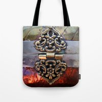 katniss Tote Bags featuring Katniss by The Brass Clasp