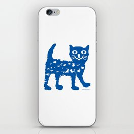 Navy blue cat pattern iPhone Skin