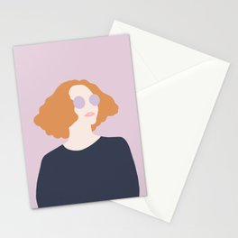 Orange Hair Girl // Minimalist Indie Rock Music Festival Lavender Sunglasses by Mighty Face Designs Stationery Cards