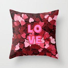 Hearts Love Confetti Throw Pillow