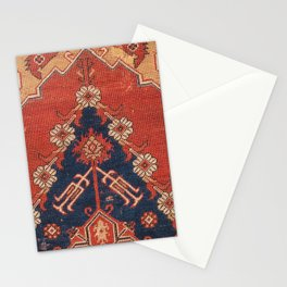 Southwest Tuscan Shapes III // 18th Century Aged Dark Blue Redish Yellow Colorful Ornate Rug Pattern Stationery Cards